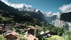 Bernese Alps panorama from Wengen Stock Footage