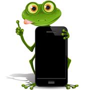frog and cellular telephone - stock illustration