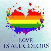 colorful heart with the flag of the lgbt movement - stock illustration