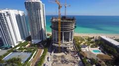 Porsche Design Tower construction 4k 2 Stock Footage