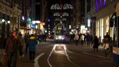 Busy street in city at night, time lapse - stock footage