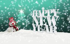 Stock Illustration of happy new year christmas winter snowman