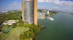 Miami waterfront buildings on the bay 4k Stock Footage