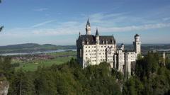 Germany Neuschwanstein Castle Bavarian Alps mountain pan 4K 081 Stock Footage