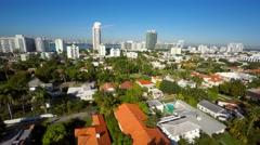 Miami Beach neighborhood aerial flyover 4k Stock Footage
