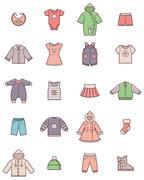 Baby clothes icon set Stock Illustration