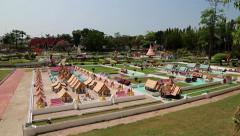 Models of world attractions in Mini Siam park in Pattaya, Thailand Stock Footage