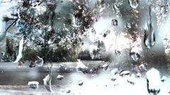 Snow Drops On Winter Window - 02 Stock Footage