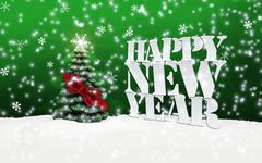 happy new year christmas tree winter snow - stock illustration