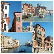 Collage of old venice (italy) famous landmarks for your travel design Stock Photos