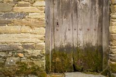 Entire old wooden door with moss and lock, sone wall Stock Photos
