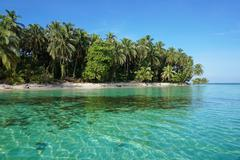 pristine caribbean island in panama - stock photo