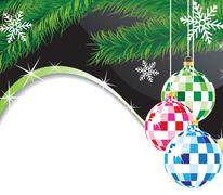 christmas spheres and fur-tree branch - stock illustration