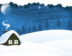 lonely forest hut - stock illustration