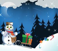 snowman postman - stock illustration