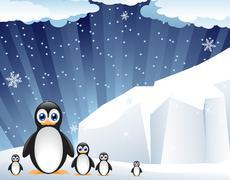 Stock Illustration of family of amusing penguins