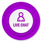 Live chat icon, violet button. Stock Illustration