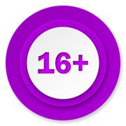 Adults icon, violet button. Stock Illustration