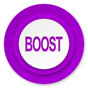 boost icon, violet button. - stock illustration