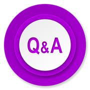 question answer icon, violet button. - stock illustration