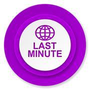 Last minute icon, violet button. Stock Illustration