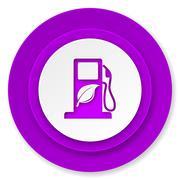 Biofuel icon, violet button, bio fuel sign. Stock Illustration