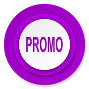 promo icon, violet button. - stock illustration
