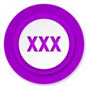 xxx icon, violet button, porn sign. - stock illustration