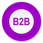 B2b icon, violet button. Stock Illustration