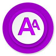 Alphabet icon, violet button. Stock Illustration