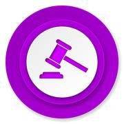 auction icon, violet button, court sign, verdict symbol. - stock illustration