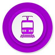 Train icon, violet button, public transport sign. Piirros
