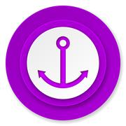 Anchor icon, violet button, sail sign. Stock Illustration
