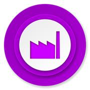 Factory icon, violet button, industry sign, manufacture symbol. Stock Illustration