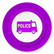 Police icon, violet button. Stock Illustration