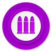 ammunition icon, violet button, weapoon sign. - stock illustration