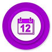 Calendar icon, violet button, organizer sign, agenda symbol. Stock Illustration