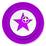 Star icon, violet button, add favourite sign. Stock Illustration
