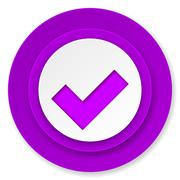 accept icon, violet button, check sign. - stock illustration