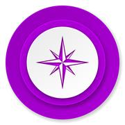 Compass icon, violet button. Stock Illustration