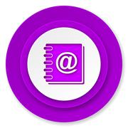 Address book icon, violet button. Stock Illustration