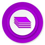 layers icon, violet button, gages sign. - stock illustration