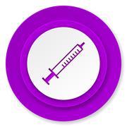 medicine icon, violet button, syringe sign. - stock illustration