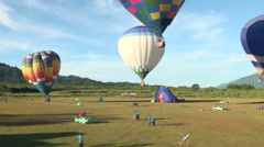 Hot air balloons rising Stock Footage