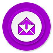 email icon, violet button, post message sign. - stock illustration