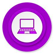 computer icon, violet button, pc sign. - stock illustration