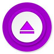 eject icon, violet button, open sign. - stock illustration