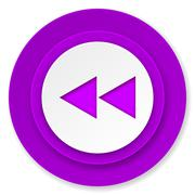 Stock Illustration of rewind icon, violet button.