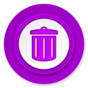 Recycle icon, violet button, recycle bin sign. Stock Illustration