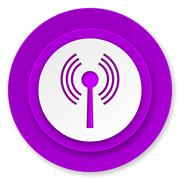 Wifi icon, violet button, wireless network sign. Stock Illustration